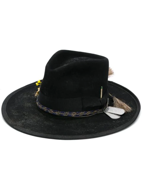 Nick Fouquet Braided Trim Hat In Black