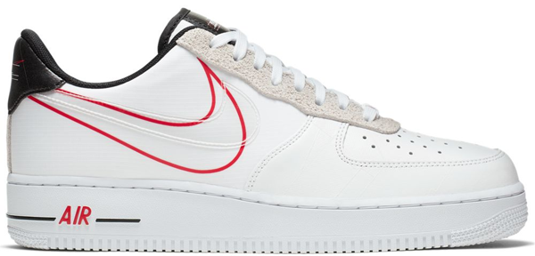 Pre-owned Air Force 1 Low Script Swoosh Pack In White/black-university Red