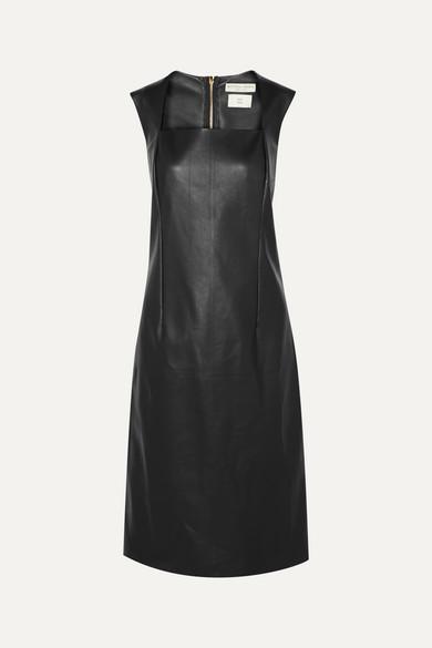 Bottega Veneta Square-neck Leather Dress In Black