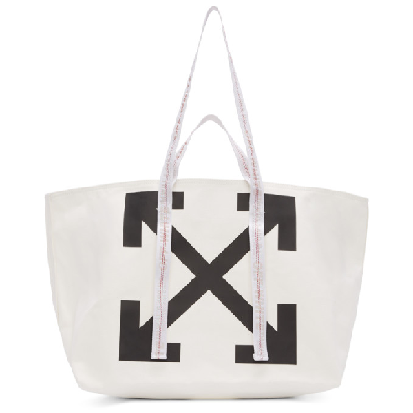 Off-white White Arrow Logo Commercial Tote Bag In White/black