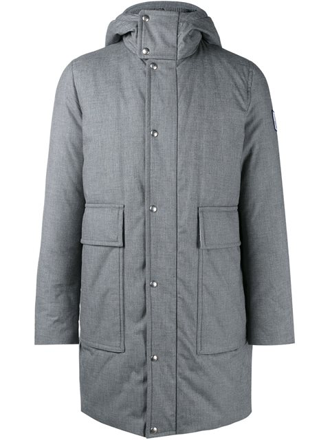 Moncler Gamme Bleu Cotton & Feather Down Hooded Coat In Grey