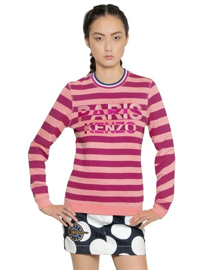 Kenzo Paris Embroidered Cotton Sweatshirt In Pink