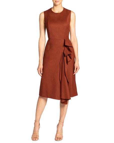 Santorelli Nicolette Sleeveless Wool Dress With Side Ruffle Detail In Rust