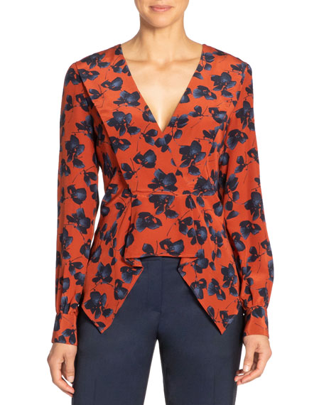 Santorelli Miranda Floral Long-sleeve Top W/ Inverted Pleated Front Panel In Rust