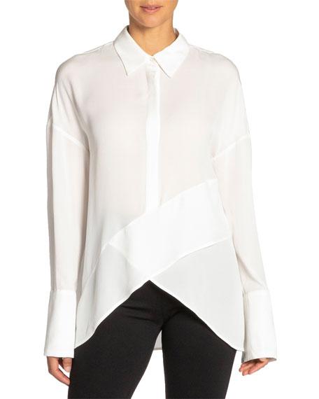 Santorelli Perla Drop-shoulder Long-sleeve High-low Silk Georgette Top In Ivory