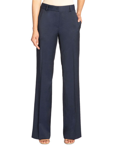 Santorelli Paola Full-length Stretch Wool Trousers With Pockets In Navy
