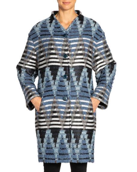 Santorelli Rosalie Geometric Oversized Cocoon Coat In Blue