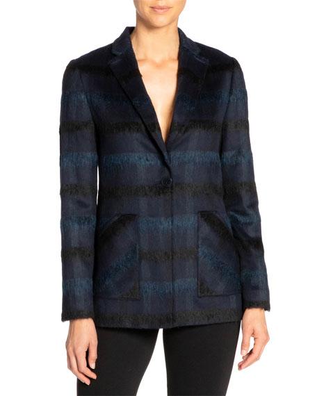 Santorelli Hannah Tonal Plaid Wool One-button Jacket In Navy