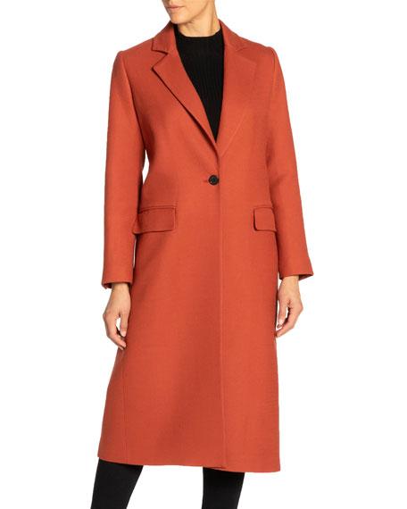 Santorelli Tammy Single-button Notch Lapel Long Wool Twill Coat In Rust