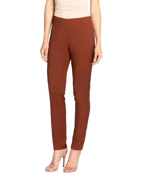 Santorelli Cece Slim Virgin Wool Stretch Ankle Pants In Rust