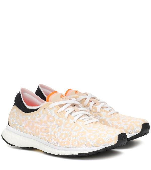 Adidas By Stella Mccartney Adizero Adios Leopard-Bonded Mesh Trainers In Orange