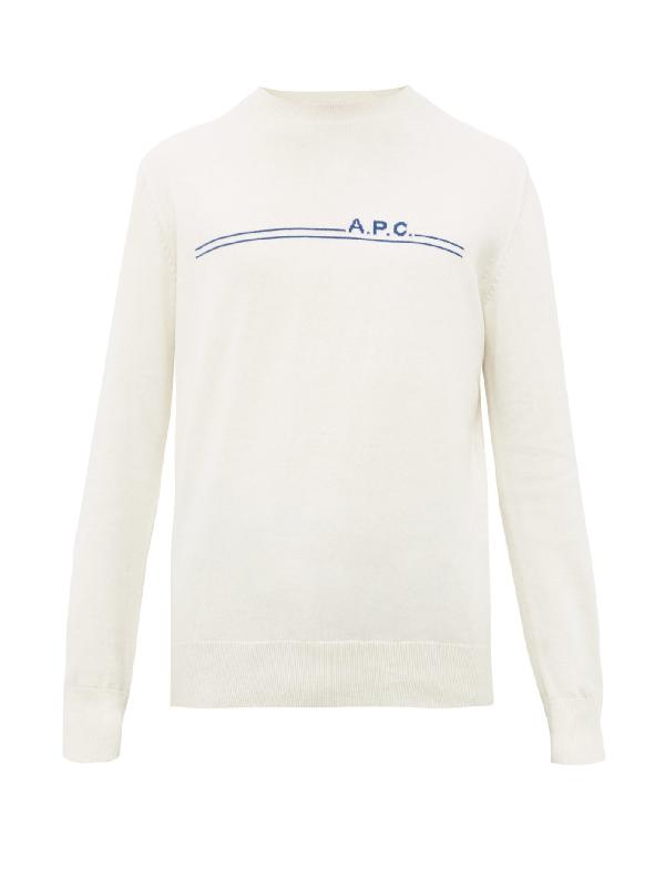 A.P.C. Logo-Intarsia Cotton-Blend Sweater In Cream