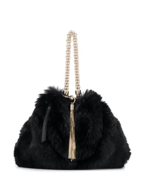 Jimmy Choo Callie Faux Fur Bag In Black