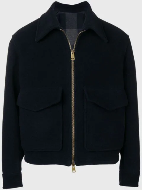 Ami Alexandre Mattiussi Patch Pockets Zipped Jacket In 410 Navy