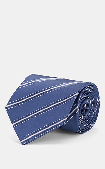 Isaia Striped Silk Satin Necktie - Blue