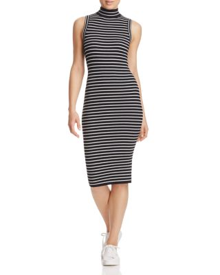 Michael Michael Kors Striped Ribbed Stretch-knit Turtleneck Dress In Black