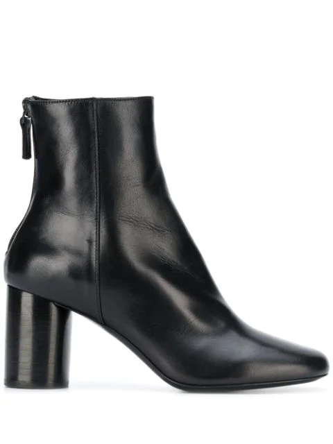 Sandro Leather Ankle Boots 75 In Noir