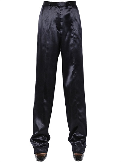 Maison Margiela Oversized Double Silk Satin Pants In Black