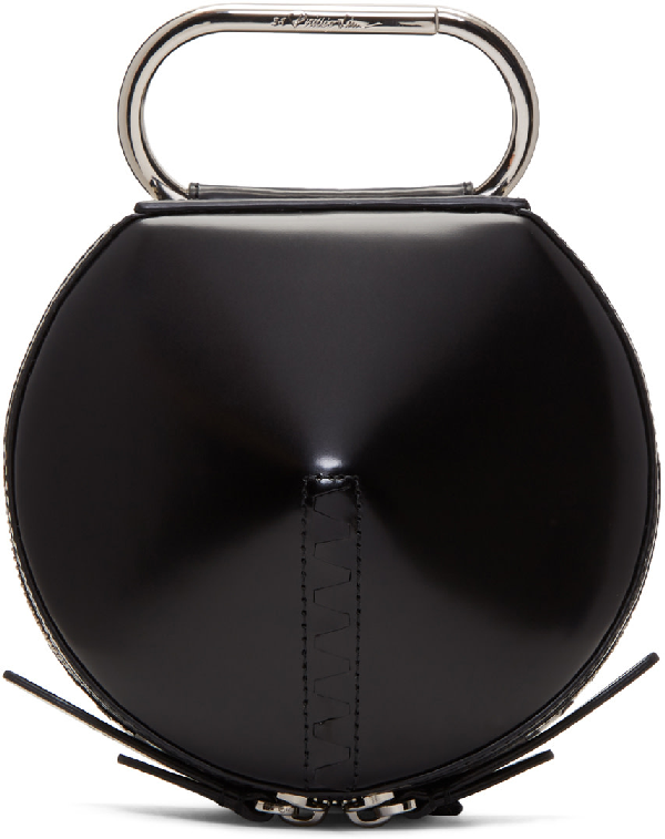 3.1 Phillip Lim 'Alix' Paperclip Handle Leather Circle Clutch In Black;Cardinal