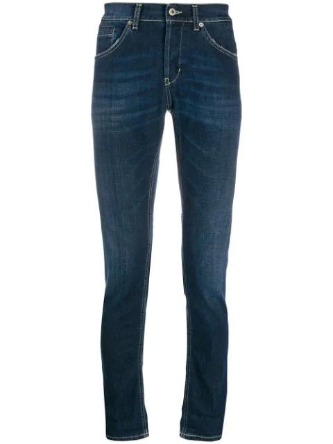 Dondup George Slim Fit Jeans In 800 Blu Denim