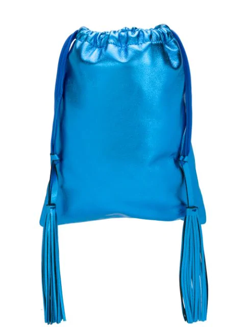 Attico Leather Metallic Bucket Bag In Blue