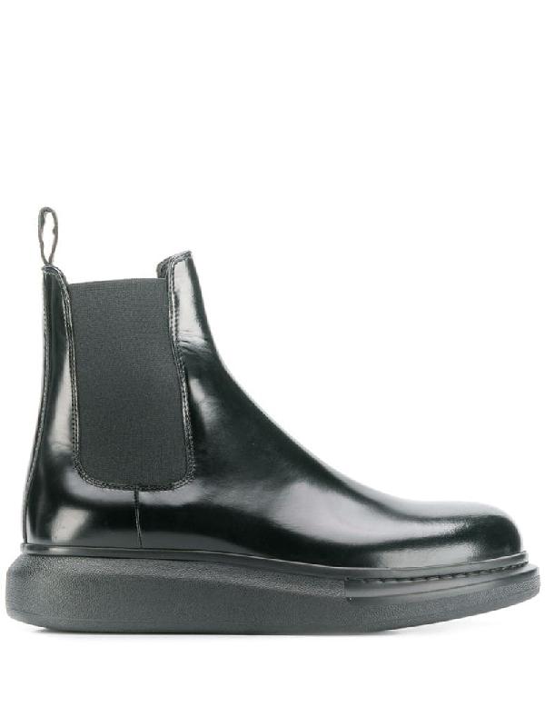 Alexander Mcqueen Wedge Chelsea Boots In Black
