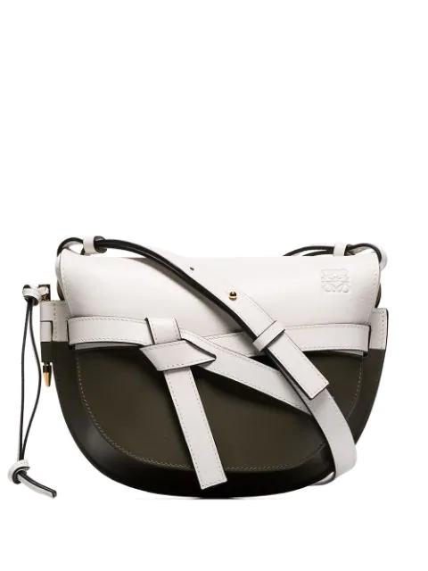 Loewe Gate Small Two-Tone Leather Shoulder Bag In Soft White/Khaki Green
