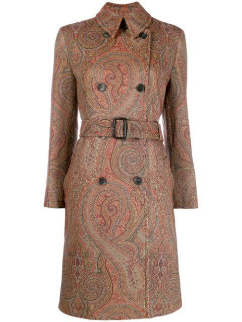 Etro Paisley Print Midi Coat In Brown