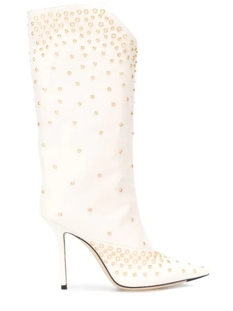 Jimmy Choo Bryndis 100 Studded Boots In 白色