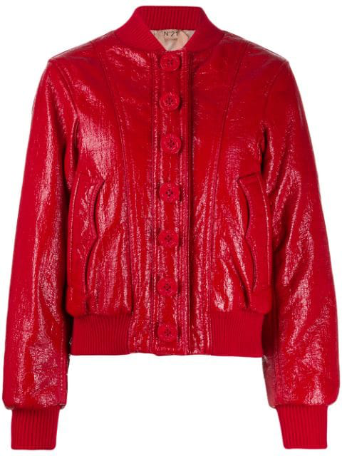 N°21 Shiny Bomber Jacket In Red