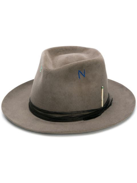 Nick Fouquet Letter Embroidered Hat In Grey