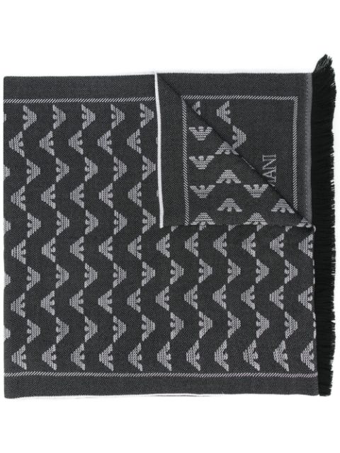 Emporio Armani Logo Print Fringed Scarf In Black