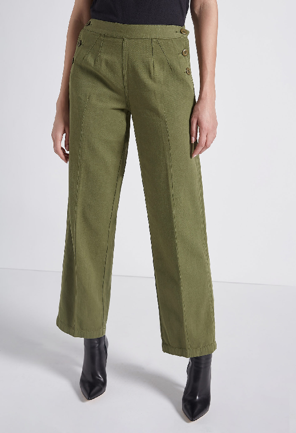 Current Elliott The Cropped Military Camp Cotton & Linen Pants In Army Green