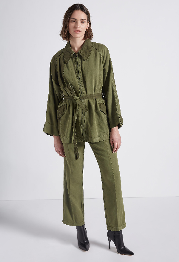 Current Elliott Relaxed Cotton & Linen Military Jacket In Army Green