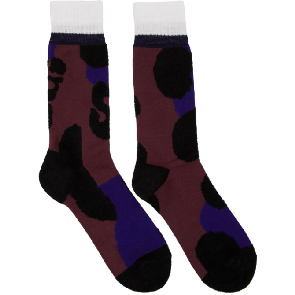 Sacai Burgundy Leopard Socks In 701 Bordeau