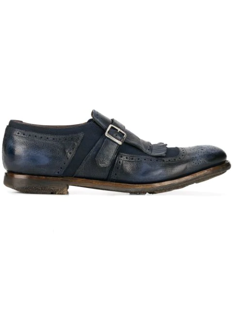 Church's Leather Monk-Strap Shoes In Blue