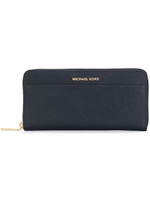 Michael Michael Kors Continental Leather Wallet In Blue