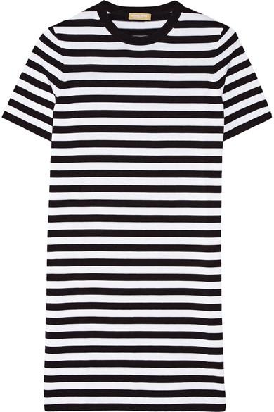 Michael Kors Short-Sleeve Striped Shift Dress In Black