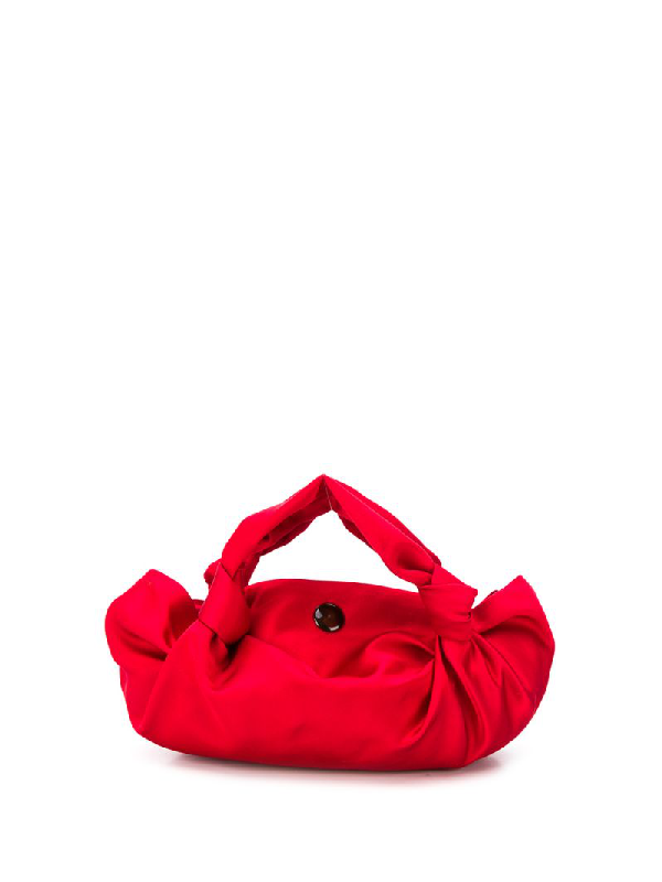 The Row The Ascot Silk-Satin Clutch In Red