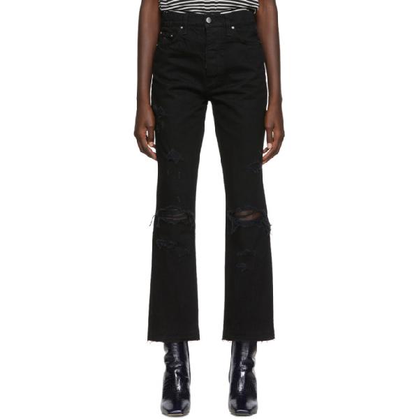 Amiri Thrasher Crop Straight Minimal Jeans In Black