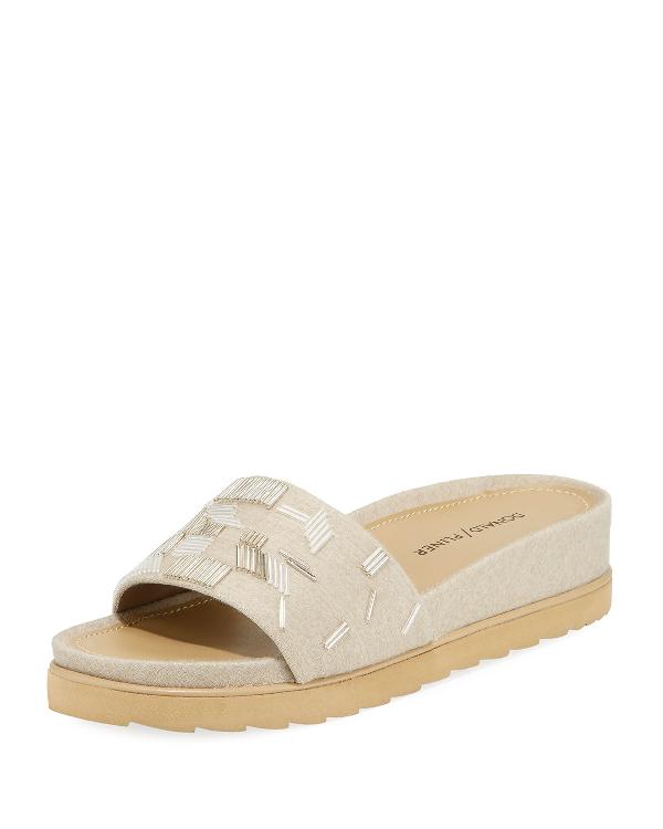 Donald J Pliner Cava Embroidered Wedge Slide Sandal, Dusk In Almond