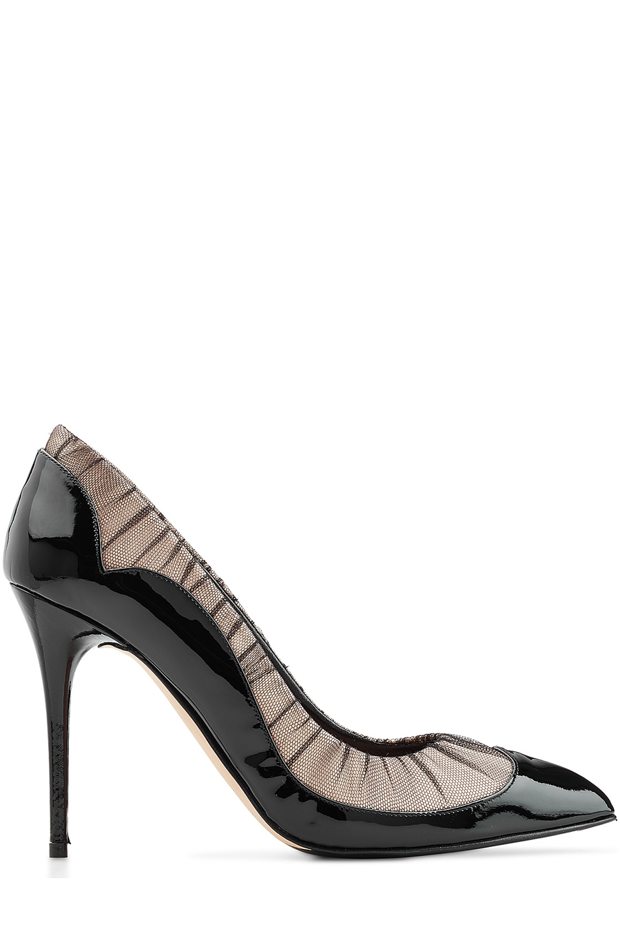 Alexander Mcqueen Patent Leather Pumps With Mesh In Black