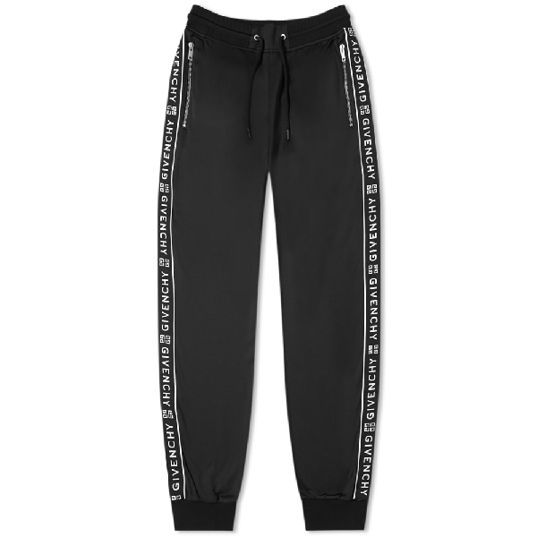 Givenchy Tapered Logo-jacquard Fleece-lined Tech-jersey Sweatpants In Black