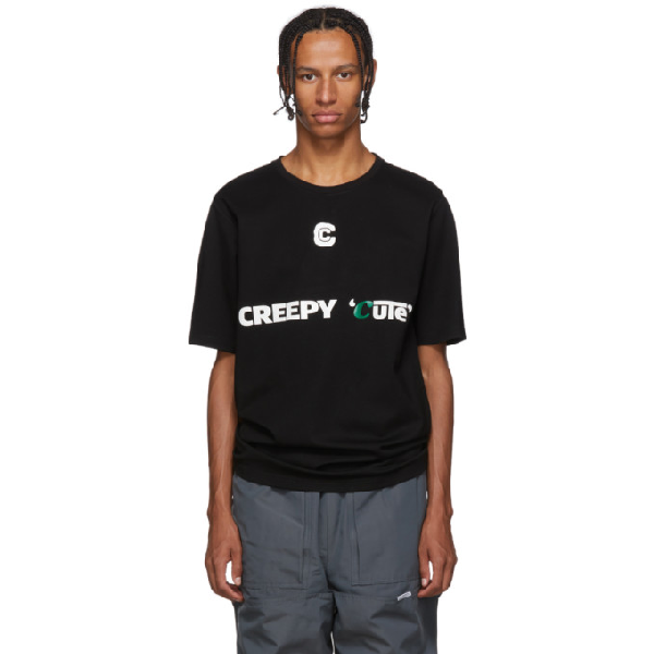 Xander Zhou Black Creepy Cute Jersey T-shirt