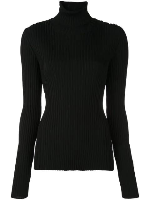 Proenza Schouler Lightweight Ribbed Turtleneck Sweater In Black