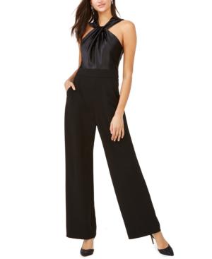 Eliza J Twist Neck Satin & Crepe Jumpsuit In Black