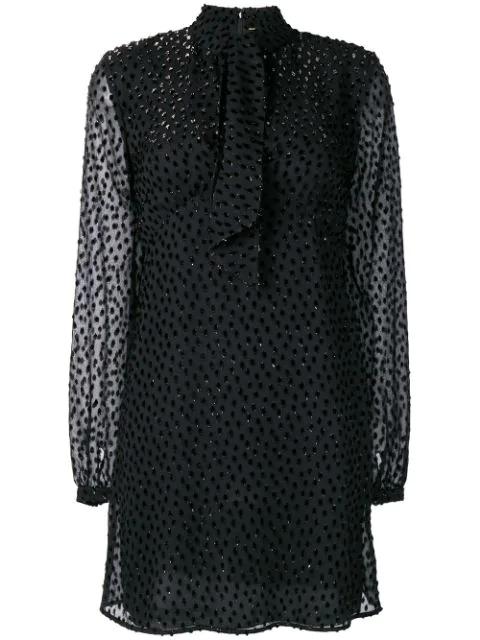 Saint Laurent Metallic Star Long Sleeve Tie Neck Silk Minidress In Black