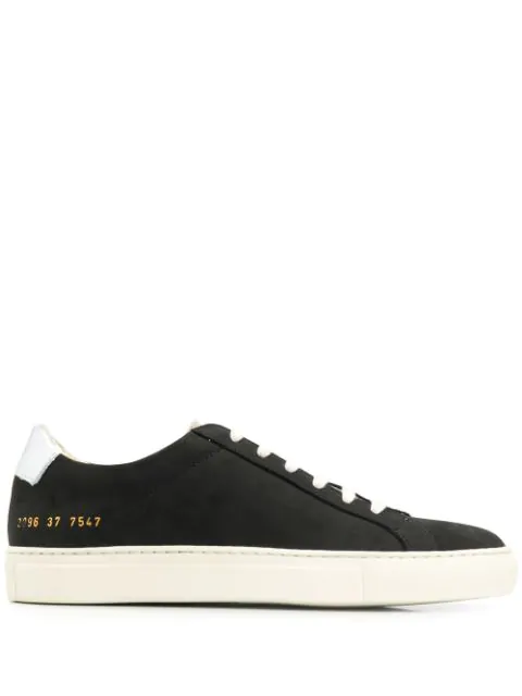 Common Projects Retro Low Nubuck-leather Trainers In Black Silver