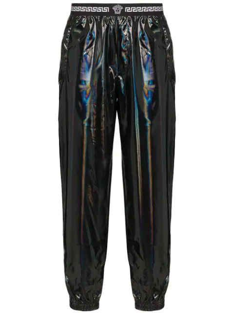 Versace Holographic Track Trousers In Black