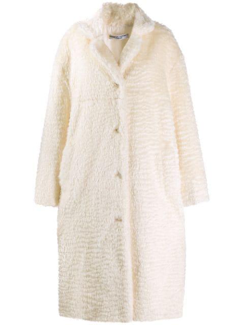 Katharine Hamnett Velma Bio Fur Coat In White